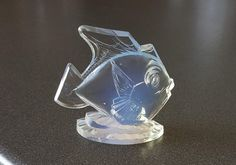 Sabino France opalescent glass figurine, fish, art deco object, 1930s