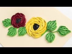 Paper Embroidery Design Modern Greeting Cards: Paper Quilling Design by HandiWorks - YouTube - Ribbon Embroidery Tutorial, Hand Embroidery Flowers, Paper Embroidery, Silk Ribbon Embroidery, Hand Embroidery Designs, Embroidery Patterns, Floral Embroidery, Paper Quilling Designs, Quilling Paper Craft