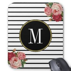 Black White Striped Antique Boho Floral Monogram Mouse Pad  $11.60  by DHArtAndCompany  - cyo customize personalize diy idea