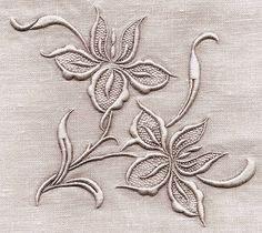 ⌖ Linen & Lace Luxuries ⌖ whitework embroidered flowers on l Couture Embroidery, Flower Embroidery Designs, White Embroidery, Beaded Embroidery, Machine Embroidery Patterns, Embroidery Stitches, Bordados E Cia, Embroidery Techniques, Fabric Painting
