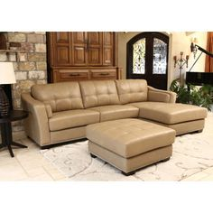 Chelsie Top Grain Leather Chaise Sectional and Ottoman