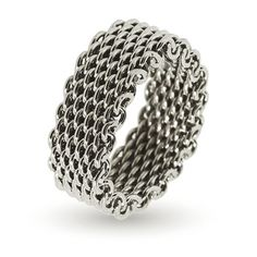 Tiffany Inspired Sterling Silver Mesh Ring | Eve's Addiction