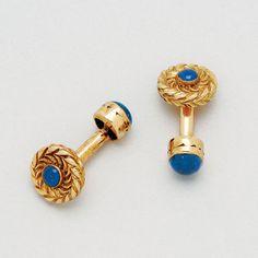 Sapphire and 14K Gold Cufflinks