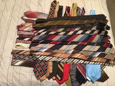 Vintage 1960s Lot of 30+ Mens Ties - Assorted Silk, Poly, Dacron - Skinny, Wide #Assorted #NeckTie
