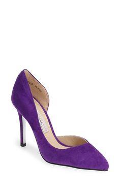 High heel purple pumps