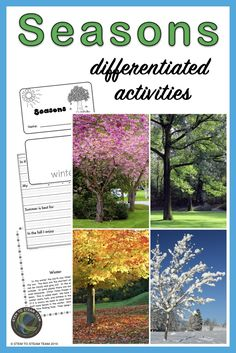 This resources has seasons activities that are perfect for you kindergarten, first-graders, and beginning second-graders. #teachingseasons #seasonsworksheets Primary Science, Mad Science, Elementary Science, Science Lessons, Seasons Worksheets, Seasons Activities, Teaching First Grade, Kindergarten Activities, Internet Scavenger Hunt