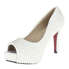 VELCANS Women's Pearls Heel Platform Pep Toe Pumps Shoes - USD $ 64.99