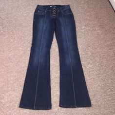 Lace front denim flares Excellent condition lace front denim flares. Rise is 8in inseam is 32 in. Pants are a size 5 in juniors. Purchased from Macy's. Noble Jeans Flare & Wide Leg