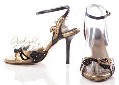 Gidget Loves These Donna Karan New York Size 7 Italy Black Gold Strappy Sandals Heels #DonnaKaran #Strappy #Sandals #Party #GidgetLovesFashion