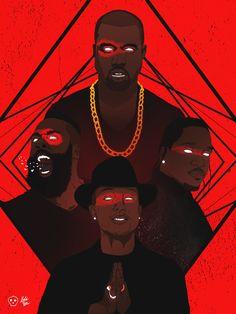James Harden x Kanye West x Pharrell Williams x Pusha T Illustration