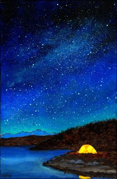 Nice  Art Print Camping Under the Stars from Original Painting and Wood burning