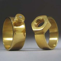 How about 24-karat gold nut-and-bolt wedding bands this Valentine's Day? A match made in heaven – or a hardware store. Starts at about $2,500 for the pair; Kiley Granberg