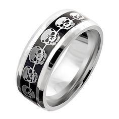 Stainless Steel Black Center Beveled Edge Skull Infinity Ring Size 9-13