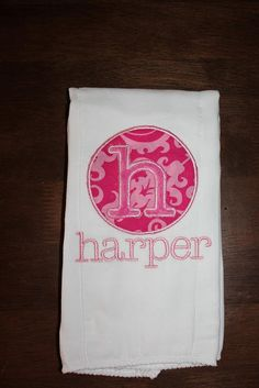 Monogram+Burp+Cloth+by+BepBoutique+on+Etsy,+$11.00