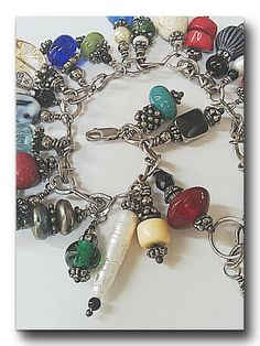 Sterling Silver Charm Bracelet, Vintage Charm Style Bracelet, Out Of Time Design Original