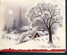 Silent Night Holy Night Winter Snow Scene Old Vintage Christmas Card Holidays