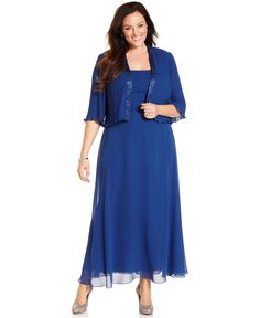 for mom?? Patra Plus Size Dress and Jacket, Sleeveless Pleated Gown - Plus Size Dresses - Plus Sizes - Macys
