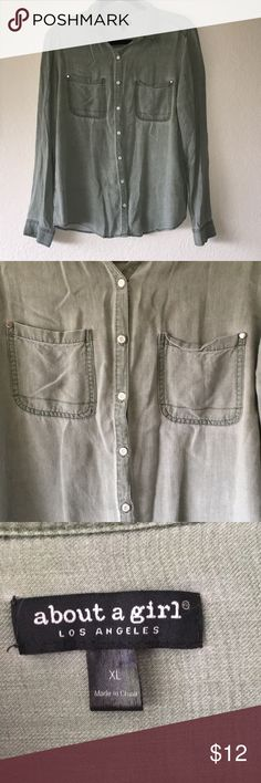 c0b43ce7c8 👠5 for $20 Olive button-up 👠Bundle this with at least five other items  listed 5 for $20. A lovely olive color, loose fitted button-up made of 100%  rayon.