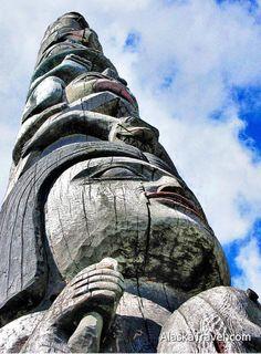 A totem pole in Alaska
