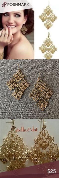 Stella & Dot - Chantilly Lace Earrings. Stella & Dot - Chantilly Lace Earrings gold. Stella & Dot Jewelry Earrings