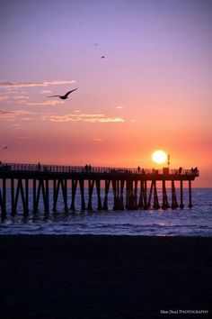 Sunset at Hermosa Beach. Hermosa has one of the best piers for sunsets. I wish I could capture pictures like this. Beautiful Sunset, Beautiful Places, California Sunset, Hollywood California, Wanderlust, Beach Pictures, Vacation Spots, Places To Visit, Scenery Photography