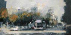 Bus en la avenida - Óleo sobre lienzo (38 x 73 cm.)