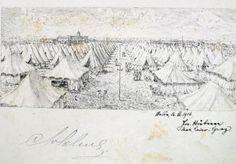 St Clement's PoW camp, Cottonera, drawn by detainee Lt. Joseph Hubner in the Salter album. World War I, Maltese, Joseph, Vintage World Maps, Draw, Album, History, World War One, Historia
