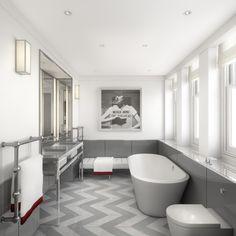 chevron floors + modern bathroom design via Tom Bartlett #modern #bathroom