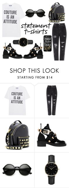 """Say What: Statement T-Shirts"" by lolaaab ❤ liked on Polyvore featuring Moschino, River Island, Fendi, Balenciaga, ZeroUV, ROSEFIELD and Casetify"
