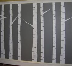 Tree bark silhouette mural (or decal) for under a dado . . .