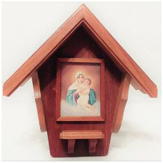 Virgin Mary & Child Pictured Devotional Shrine Altar Wall Hanging Ornate Hand Crafted Wood Niche Christian Roman Catholic Religious Folk Art