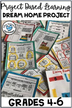 This Project Based Learning activity reinforces math skills for upper elementary students! Students plan their own dream home in this printable math project, incorporating area and perimeter, multiplication, division, decimals, and more. Differentiated for multiple grades. Includes easy to use lesson plans for teachers, templates for students. Great resource for end of the year, test prep, and more! #projectbasedlearningmath #fifthgrademath
