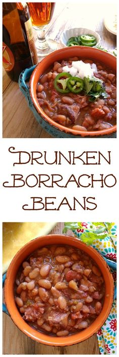 Mexican Borracho Beans cooked low and slow with pinto beans, pork, spices and beer. THE PERFECT side dish to your next Mexican feast! Bean Recipes, Side Dish Recipes, Dinner Recipes, Dinner Ideas, Pepper Recipes, Slow Cooker Recipes, Crockpot Recipes, Cooking Recipes, Healthy Recipes