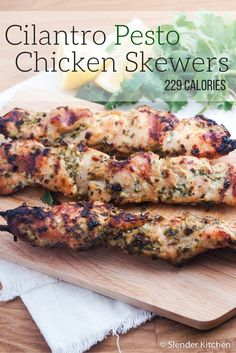 Cilantro Pesto Chicken Skewers