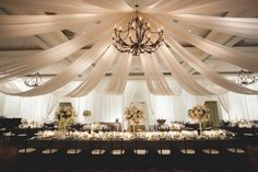 sweeping ceiling decor for event space