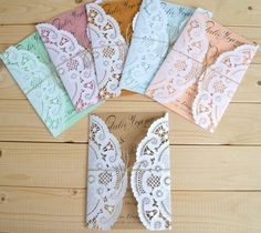 Doily Invitation Tied With Twine In Choice Of Color - Rustic Vintage Wedding Invitation - Etsy