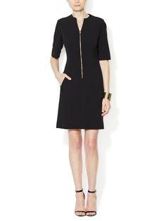 Zipper Front V-Neck Sheath Dress by Tahari ASL at Gilt