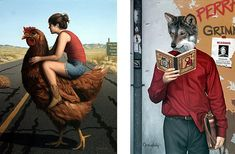 These striking artworks by Matthew Grabelsky juxtapose unexpected items, creating intriguing surrealist images.
