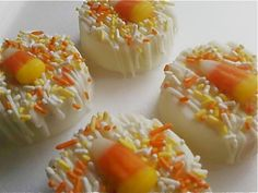 White chocolate covered candy corn oreos