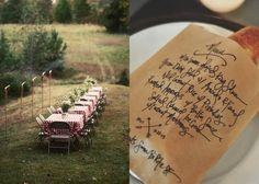 Casamento Rústico - Até na comida, casamento rústico, casamento, comida de casamento, gastronomia, mesa de jantar, decoração de casamento rústico, noiva