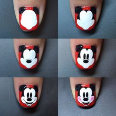 Steps to draw Mickey nails. Ongles Mickey Mouse, Mickey Nails, Minnie Mouse Nails, Nail Art Designs, Pretty Nail Designs, Nails Design, Nail Art Disney, Nagel Hacks, Funky Nails