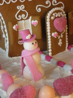 With Love & Confection: Valentine Gingerbread House (*For the sparkle he was brushed in Vodka and rolled in disco dust! Gingerbread House Parties, Gingerbread Houses, Pink Christmas, Christmas Crafts, Christmas Baking, Christmas Ideas, Merry Christmas, Christmas Decorations, Xmas