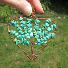 turquoise heart tree of life pendant fashion style necklace tree of life gift for her boho hippie wireby FloralFantasyDreams Jewelry Ideas, Jewelry Gifts, Unique Jewelry, Heart Tree, Tree Necklace, Tree Of Life Pendant, Handmade Jewelry Designs, Boho Hippie, Artisan Jewelry