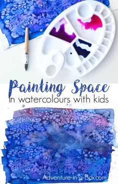 Learn how to paint space and galaxies with watercolours in a simple way and fun way that would appeal to children. This technique includes the use of pipettes, which is always a hit in our house! Space Watercolor, Space Painting, Watercolor Galaxy, Galaxy Painting, Painting For Kids, Drawing For Kids, Sky Painting, Projects For Kids, Diy For Kids