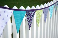 Eco-Friendly Reusable Fabric Bunting, Banner, Pennant, Flag, Garland, Photo Prop, Decoration in Anthropology Bonjour in Purple on Etsy, $34.00