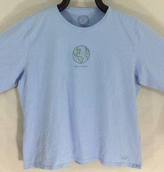 Life Is Good T-Shirt 2XL Blue World Earth One Love Long Sleeve Tee Women 2X #LifeIsGood #GraphicTee