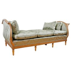 Antique French Louis XVI Style Daybed in Carved & Gilded Wood, c. 1890 | From a unique collection of antique and modern day beds at http://www.1stdibs.com/furniture/seating/day-beds/