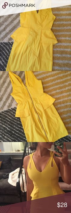 YELLOW BODYCON DRESS - Size M (4/6) NOT SO MELLO YELLOW - stand out in this super cute yellow bodycon dress. Great for a trip to Vegas. Originally from Nasty Gal. Nasty Gal Dresses Mini