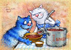 Cat Art Blue cats by Zenyuk Borsch Modern Russian postcard 1188 Splat Le Chat, Cat Anime, Lego Film, Image Chat, Gatos Cats, Cat Colors, Blue Cats, Cool Pets, Cat Drawing
