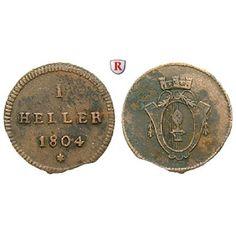 Augsburg, Reichsstadt, Heller 1804, ss: Kupfer-Heller 1804. Forster 738; sehr schön, Randausbruch 25,00€ #coins